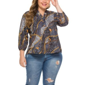 Printed Chain Long Sleeve Large Size Shirt Female (Color:Black Size:XXL)