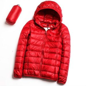 Casual Ultra Light White Duck Down Jacket Women Autumn Winter Warm Coat Hooded Parka, Size:XXL(Red)