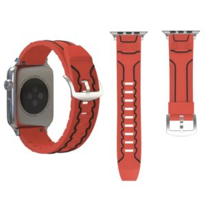 For Apple Watch Series 3 & 2 & 1 42mm Fashion Electrocardiogram Pattern Silicone Watch Strap(Red)