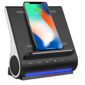 Azpen D108 3 in 1 Fast Wireless Charger Bluetooth Speaker and Docking Station, Support TF Music Player, For iPhone, Samsung, LG, Google, Sony, Nokia, Motorola and other Smartphones(Black)