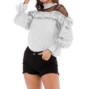 Dot Mesh Stitching Trumpet Sleeve Ruffled Chiffon Shirt (Color:White Dot Size:L)