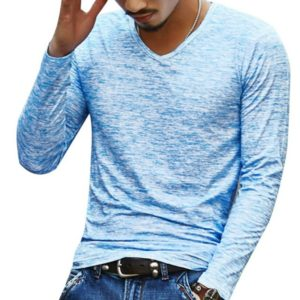 Slim Streetwear V-neck T Shirt Casual Fitness Tops Long Sleeve Pullover Shirt for Men(Blue)