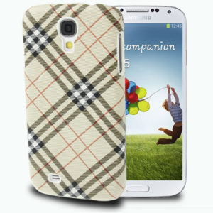 Gird Pattern Plastic Case for Samsung Galaxy S IV / i9500 (Khaki)