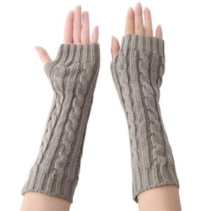 Γυναικεία γάντια Women Twist Knit Arm Warmers Fingerless Gloves Thumb Hole Mittens Γκρι