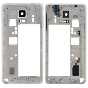 Middle Frame Bezel Back Plate Housing Camera Lens Panel with Speaker Ringer Buzzer and Earphone Hole for Galaxy Note 4 / N910V(White)