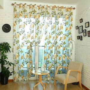 Classic Tulle Rotten Flower Curtain Window Home Decoration, Size:100x200cm Wear Rod(Grey With Bead)