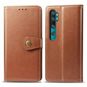 For Xiaomi CC9 Pro / Note 10 Retro Solid Color Leather Buckle Mobile Phone Protection Leather Case with Photo Frame & Card Slot & Wallet & Bracket Function(Brown)