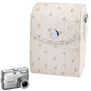 Ostrich Skin Texture Universal Mini Leather Camera Bag with Strap (White)