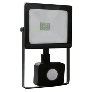 BLACK SENSOR LED SMD FLOOD LUMINAIRE IP66 10W 3000K 800Lm 230V RA80