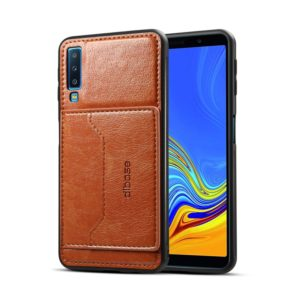 Dibase TPU + PC + PU Crazy Horse Texture Protective Case for Galaxy A7 (2018), with Holder & Card Slots (Brown) (dibase)