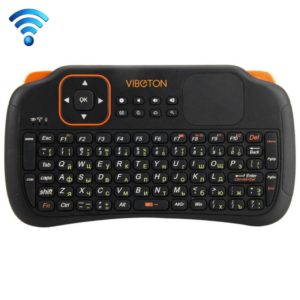 VIBOTON S1 Air Mouse 83-keys QWERTY 2.4GHz Mini Rechargeable Wireless Keyboard with Touchpad for PC, Pad, Android / Google TV Box, Xbox360, PS3, HTPC / IPTV, Support Auto Sleep and Auto Wake Mode & Russian Input Method(Black) (VIBOTON)