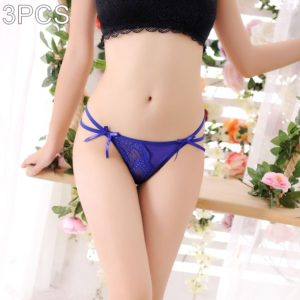 3 PCS FunAdd Women Fashion Lace Bowknot Transparent Hollow Thongs Low-waisted Sexy Enticing Panties, Free Size (Dark Blue) (FunAdd)