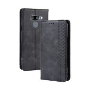 Magnetic Buckle Retro Crazy Horse Texture Horizontal Flip Leather Case for LG K50 /LG Q60 , with Holder & Card Slots & Photo Frame(Black)
