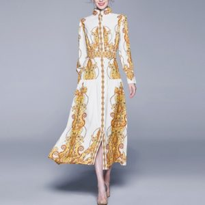 Retro Loose Big Swing Printing Long-sleeved Dress (Color:Yellow Size:L)