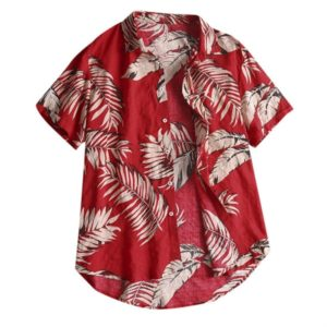 Cotton Casual Beach Holiday Print Shirt for Men, Size:XXXL(Red)