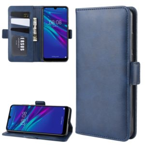 For Huawei Y6 2019 Double Buckle Crazy Horse Business Mobile Phone Holster with Card Wallet Bracket Function(Blue)