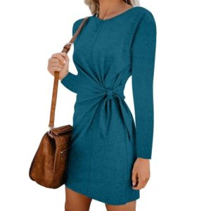 Round Neck Lace Long-sleeved Dress (Color:Lake Blue Size:XXL)