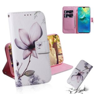 Magnolia Flower Pattern Coloured Drawing Horizontal Flip Leather Case for Huawei Mate 20, with Holder & Card Slots & Wallet