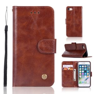 For iPhone 6 / 6s Retro Copper Buckle Crazy Horse Horizontal Flip PU Leather Case with Holder & Card Slots & Wallet & Lanyard(Brown)