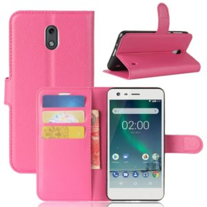 For Nokia 2 Litchi Texture Horizontal Flip Leather Case with Holder & Card Slots & Wallet (Magenta)