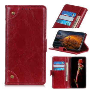Copper Buckle Nappa Texture Horizontal Flip Leather Case for iPhone 11, with Holder & Card Slots & Wallet (Wine Red)