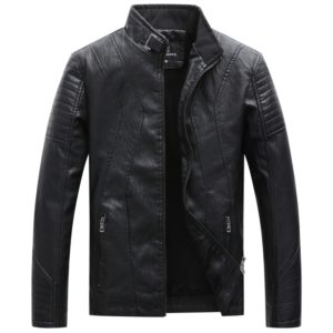 Men Casual Non-iron Stand Collar PU Leather Jacket (Color:Black Size:XL)
