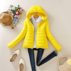 Warm Winter Parka Jacket Ladies Women Slim Short Coat, Size:XXL(Yellow)