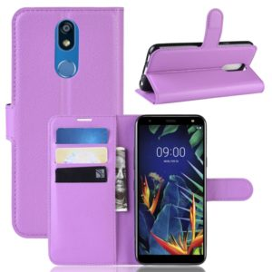 Litchi Texture Horizontal Flip Leather Case for LG K40, with Wallet & Holder & Card Slots (Purple)