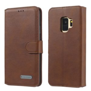 For Galaxy S9 Solid Color Buckle Horizontal Flip Leather Case with Wallet & Holder & Card Slots(Brown)