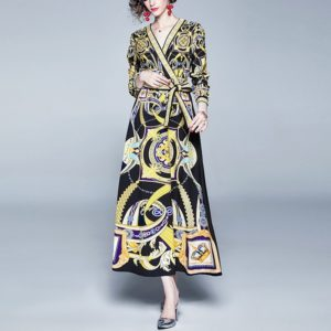 V-neck Long-sleeved Lace Printed Dress (Color:Yellow Size:M)