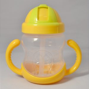 280ML Baby Bottle Kids Cup Silicone Sippy Children Training Cups Cute Baby Drinking Water Straw Handle Feeding Bottle(Yellow)