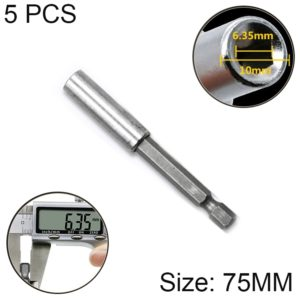 5 PCS 1/4 Electric Batch Head High Magnetism Connecting Rod Pistol Drill Extension Rod Sleeve Fast Turning Joint, Length: 75mm