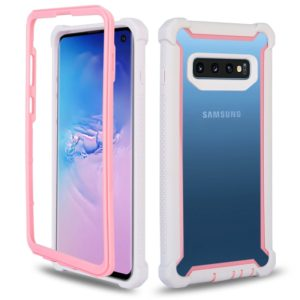 Four-corner Shockproof All-inclusive Transparent Space Case for Galaxy S10(Pink + White)