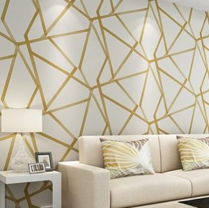 Modern Minimalist Geometric Pattern Non-woven Wallpaper Bedroom Living Room Wallpaper(Golden)