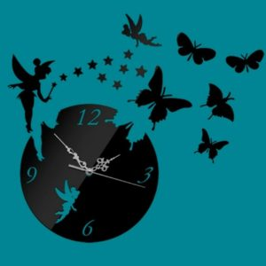 Butterfly Star 3D Acrylic Stereo Living Room Bedroom Decorating Mirror Wall Clock(Black)