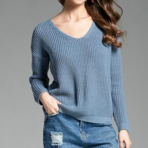 V-neck Pullover Personalized String Sexy Sweater, Size: L(Light Blue )