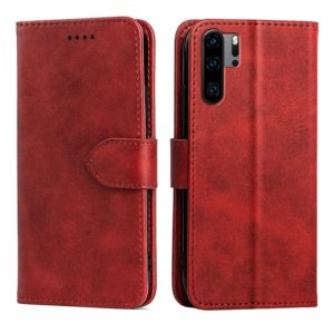 For Huawei P30 Pro Calfskin Texture Horizontal Flip Leather Case with Holder & Card Slots(Red)