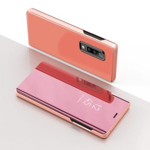 For Galaxy A30s / A50s Plating Mirror Left and Right Flip Cover with Bracket Holster(Rose gold)