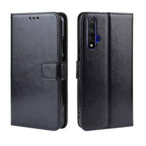 Retro Crazy Horse Texture Horizontal Flip Leather Case for Huawei Honor 20 , with Holder & Card Slots & Photo Frame(Black)