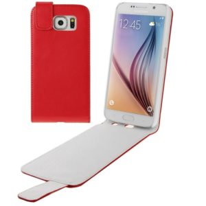 For Galaxy S6 / G920 Vertical Flip Magnetic Snap Leather Case(Red)