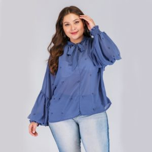 Plus Size Women Pearl Lantern Sleeve Round Neck Chiffon Shirt (Color:Blue Size:XXXL)