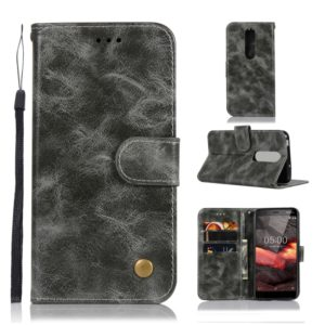 For Nokia 5.1 Retro Copper Buckle Crazy Horse Horizontal Flip PU Leather Case with Holder & Card Slots & Wallet & Lanyard(Gray)