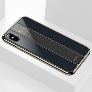 Electroplated Mirror Glass Case for iPhone X / XS(Black)