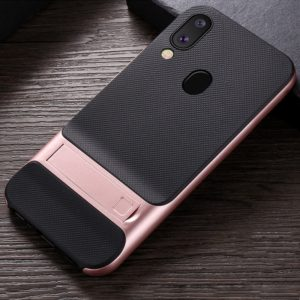 For Galaxy M20 Plaid Texture Non-slip TPU + PC Case with Holder(Rose Gold)