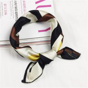 Square Scarf Hair Tie Band For Business Party Women Elegant Small Vintage Skinny Retro Head Neck Silk Satin Scarf(26)