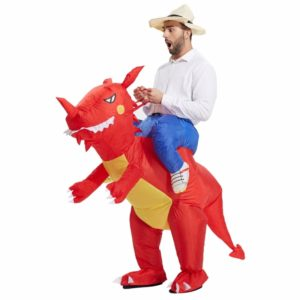 Operated Inflatable Dinosaur Fancy Polyester Dress Halloween Party Costume for Adult, Recommended Height: 1.6-1.9m(Red)