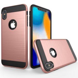 Brushed Texture Shockproof Rugged Armor Protective Case for iPhone XS Max(Rose Gold)