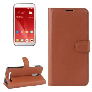 For ZTE Blade A602 Litchi Texture Horizontal Flip Leather Case with Holder & Card Slots & Wallet (Brown)