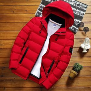 Winter Men Solid Color Short Jacket Slim Warm Hooded Cotton Clothing Casual Youth Down Jacket, Size:XL(Red)