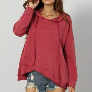 Solid Color Hooded Irregular Hem Women Sweatshirt (Color:Red Size:L)